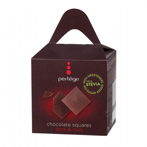 Dark & Milk Chocolate Squares - No Sugar Added Free PERLEGE Belgian Chocolates Gift Box 100g